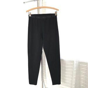 VS PINK Black Branded Waistband Cotton Leggings